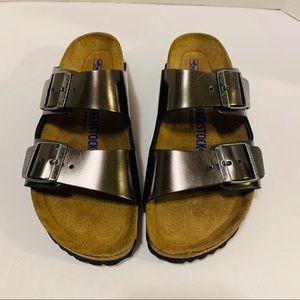Birkenstock Soft Footbed Gunmetal Sandals Size 8